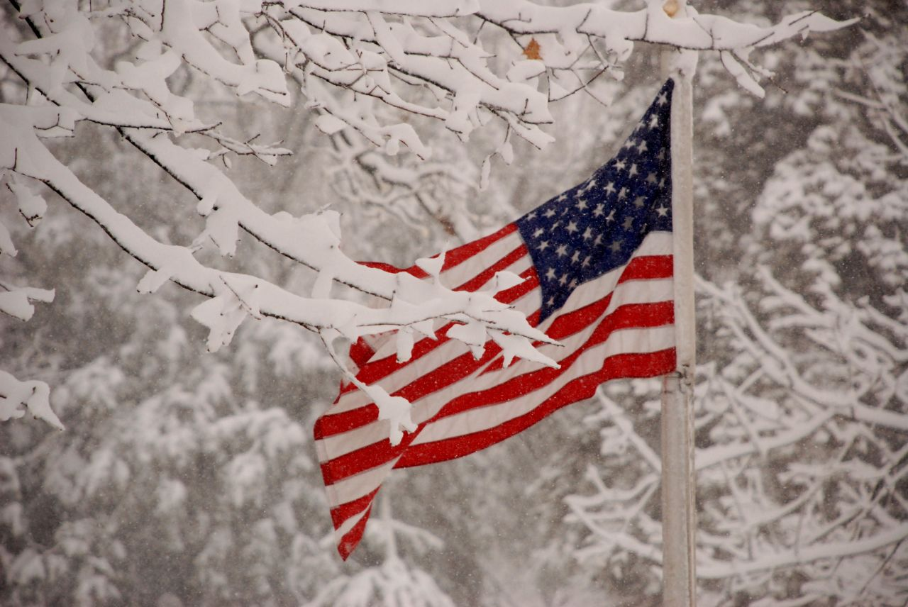 Red, white, and blue on a snowy February day