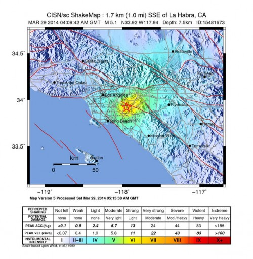 ShakeMap of 5.1 magnitude earthquake that rattled LA this evening