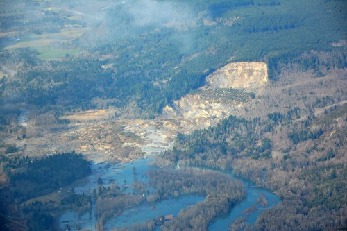 Aerial view of the Stillguamish River and SR 530 after the March 22, 2014 landslide