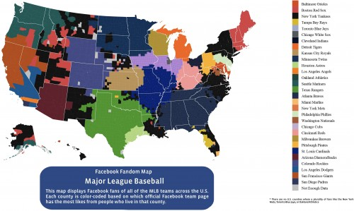 The most-liked MLB teams by county, according to Facebook