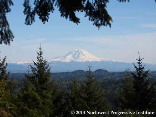 The majesty of Mount Rainier, seen from the De Leo Wall Trail