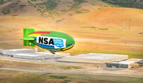 EFF, Greenpeace fly blimp over NSA datacenter to protest spying