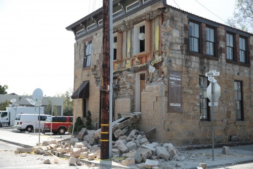 Earthquake-damaged building in Napa
