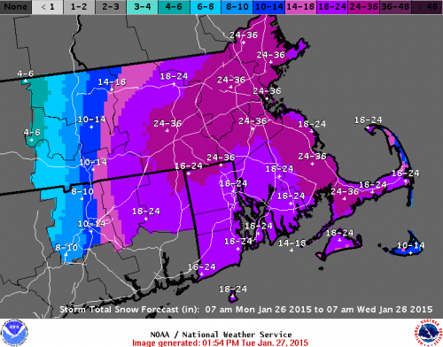 January 2015 Nor'easter Total Snow Range