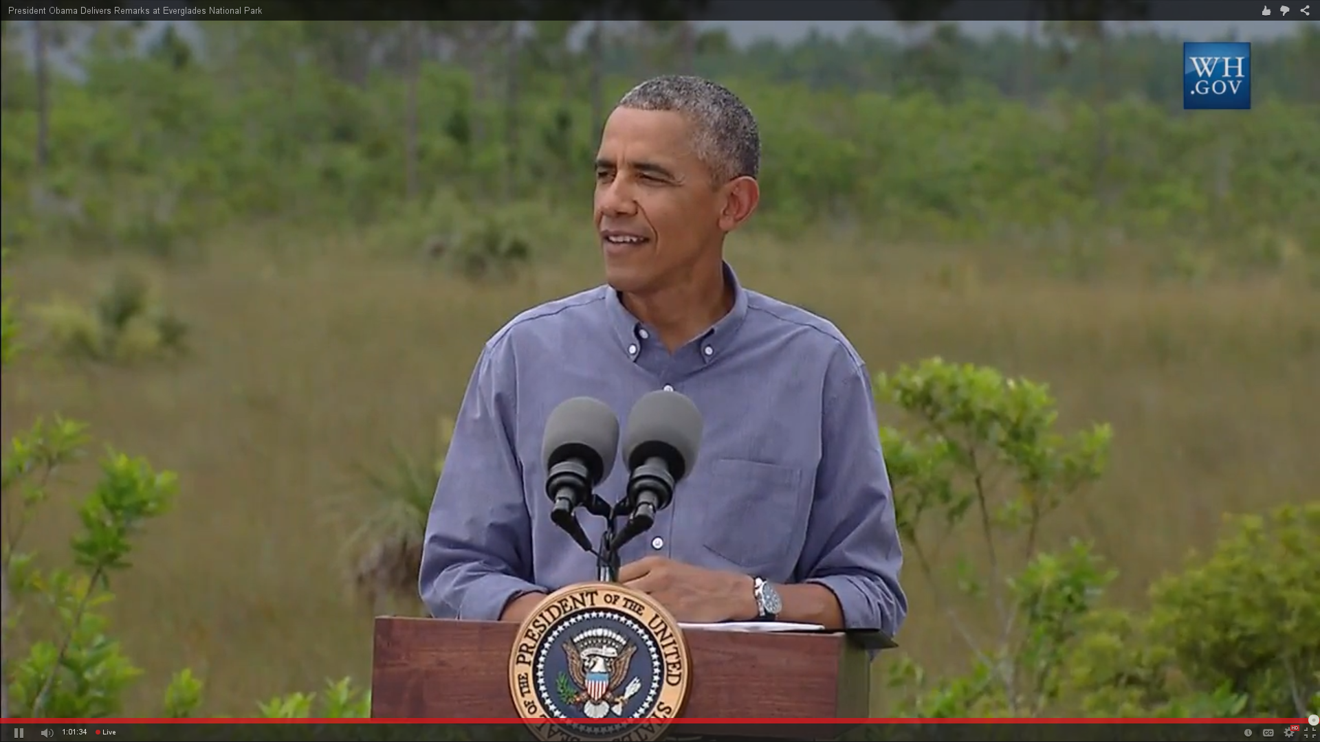 President Obama speaking at Everglades National Park