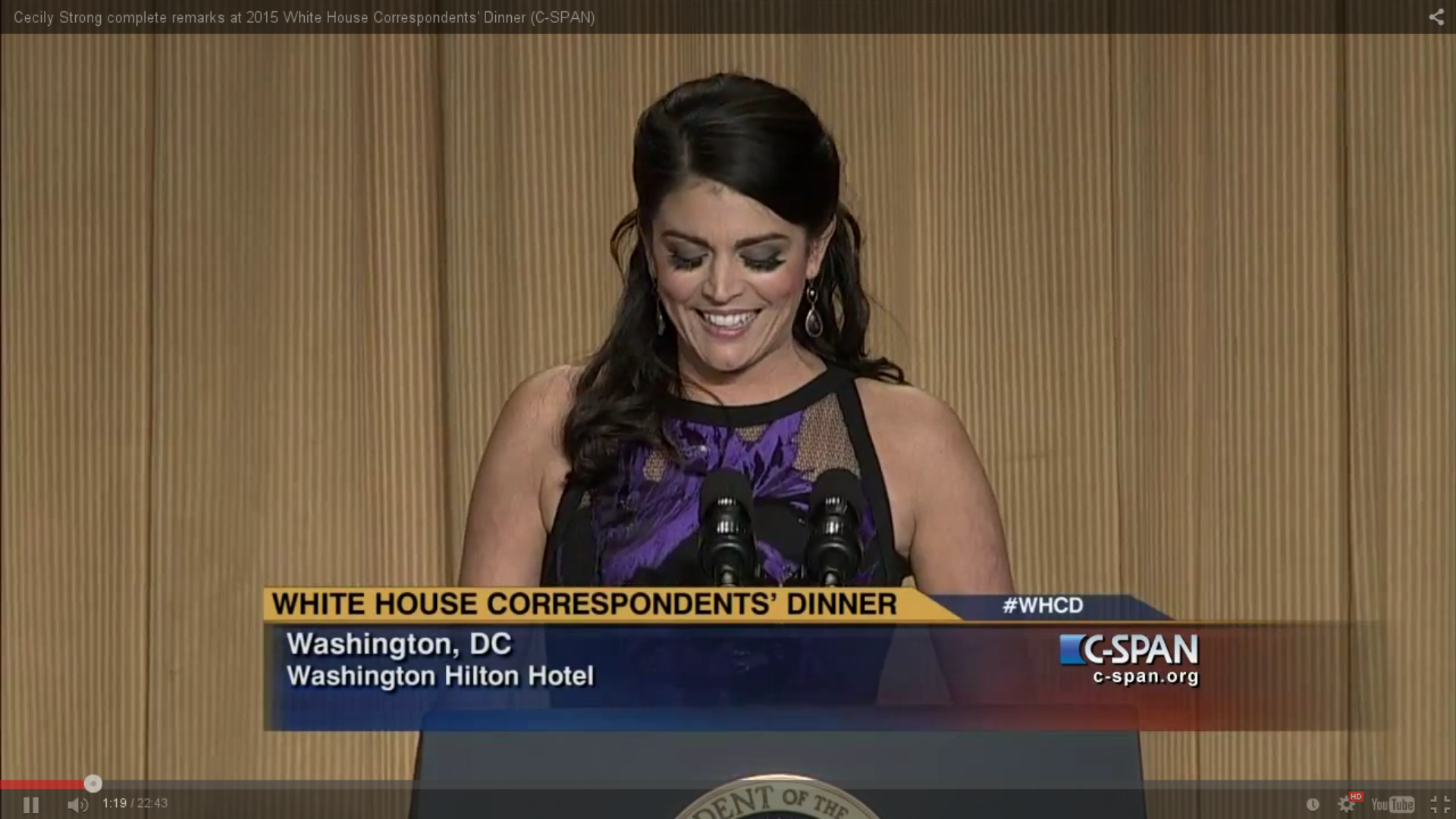 Cecily Strong smiles at White House Correspondents' Dinner