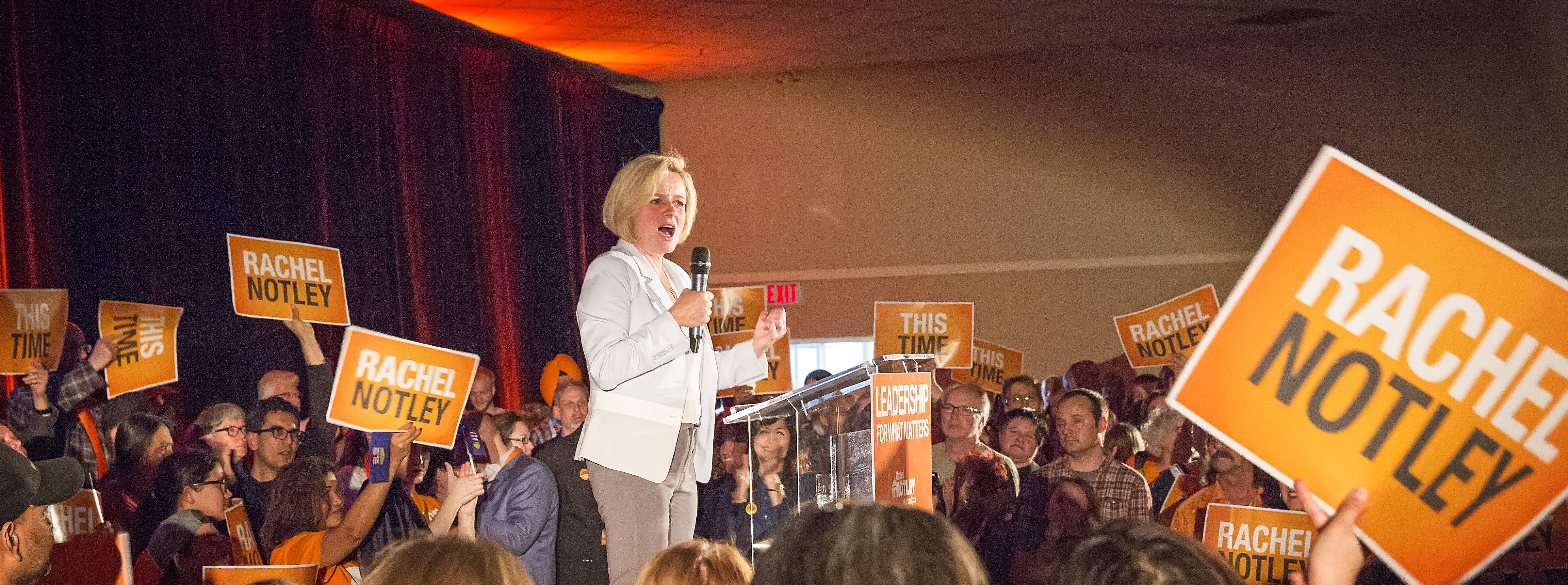 Rachel Notley rallies the Alberta NDP