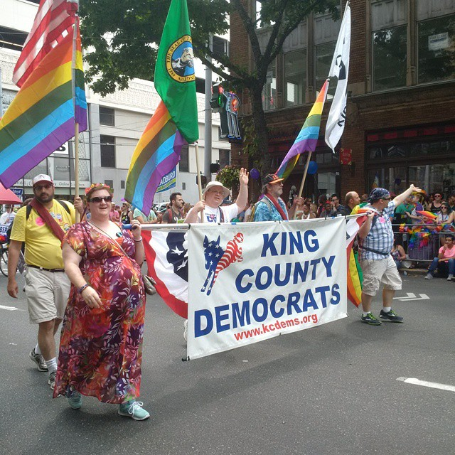 The King County Democrats march in the 2015 Seattle Pride Parade