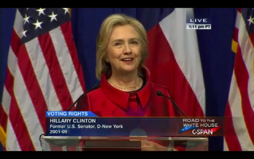 Hillary Clinton speaks on voting rights