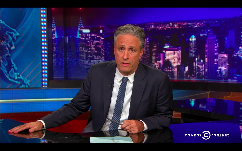 Jon Stewart speaking on The Daily Show