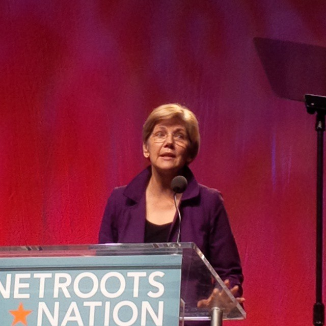 Elizabeth Warren talking about the bill to try to stop the revolving door syndrome between Wall Street and DC. #NN15