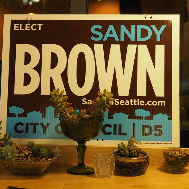A sign at Sandy Brown's north Seattle victory party