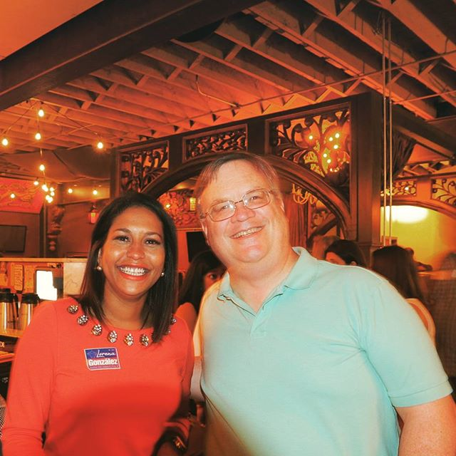 Brianna Thomas and Rich Erwin celebrate Lorena Gonzalez's victory in West Seattle