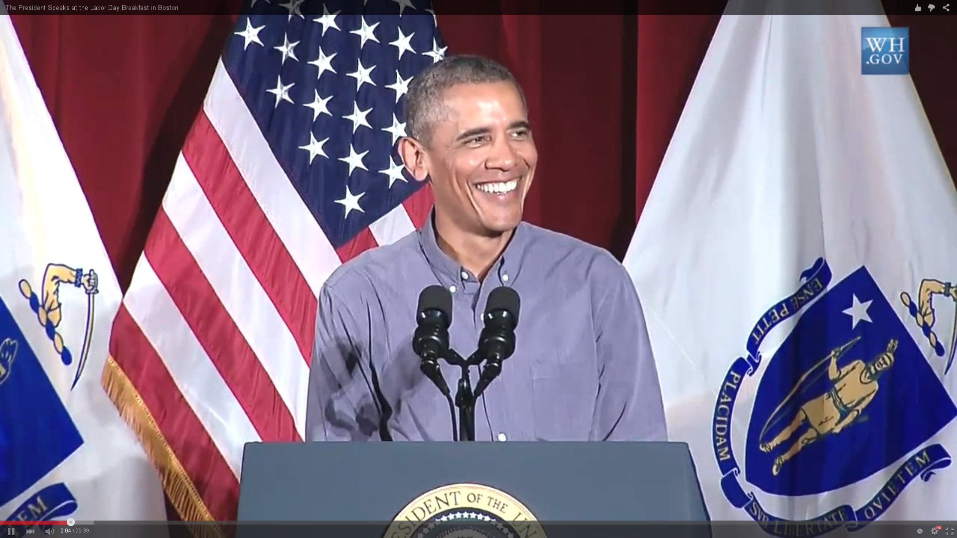 President Obama speaks at the 2015 Labor Day Breakfast