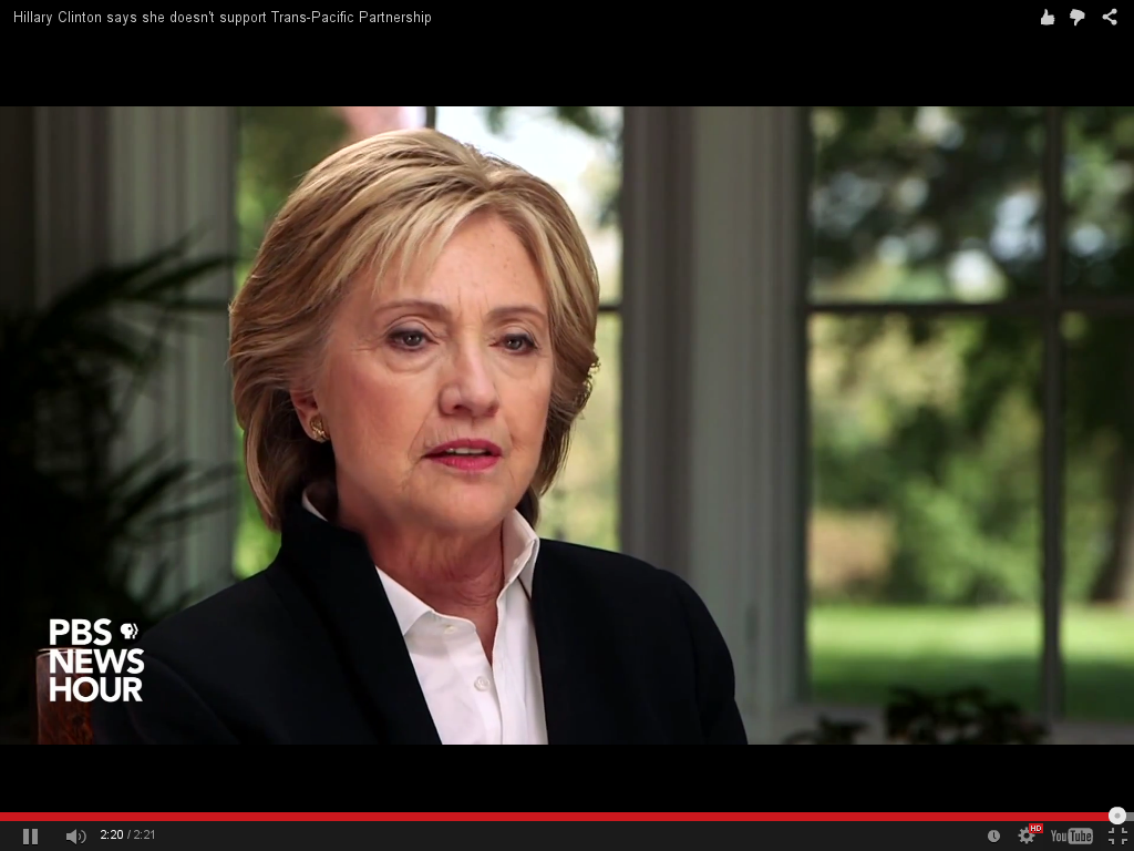 Hillary Clinton talks to PBS about TPP