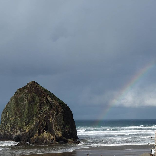 Haystack Rock, at the end of a rainbow