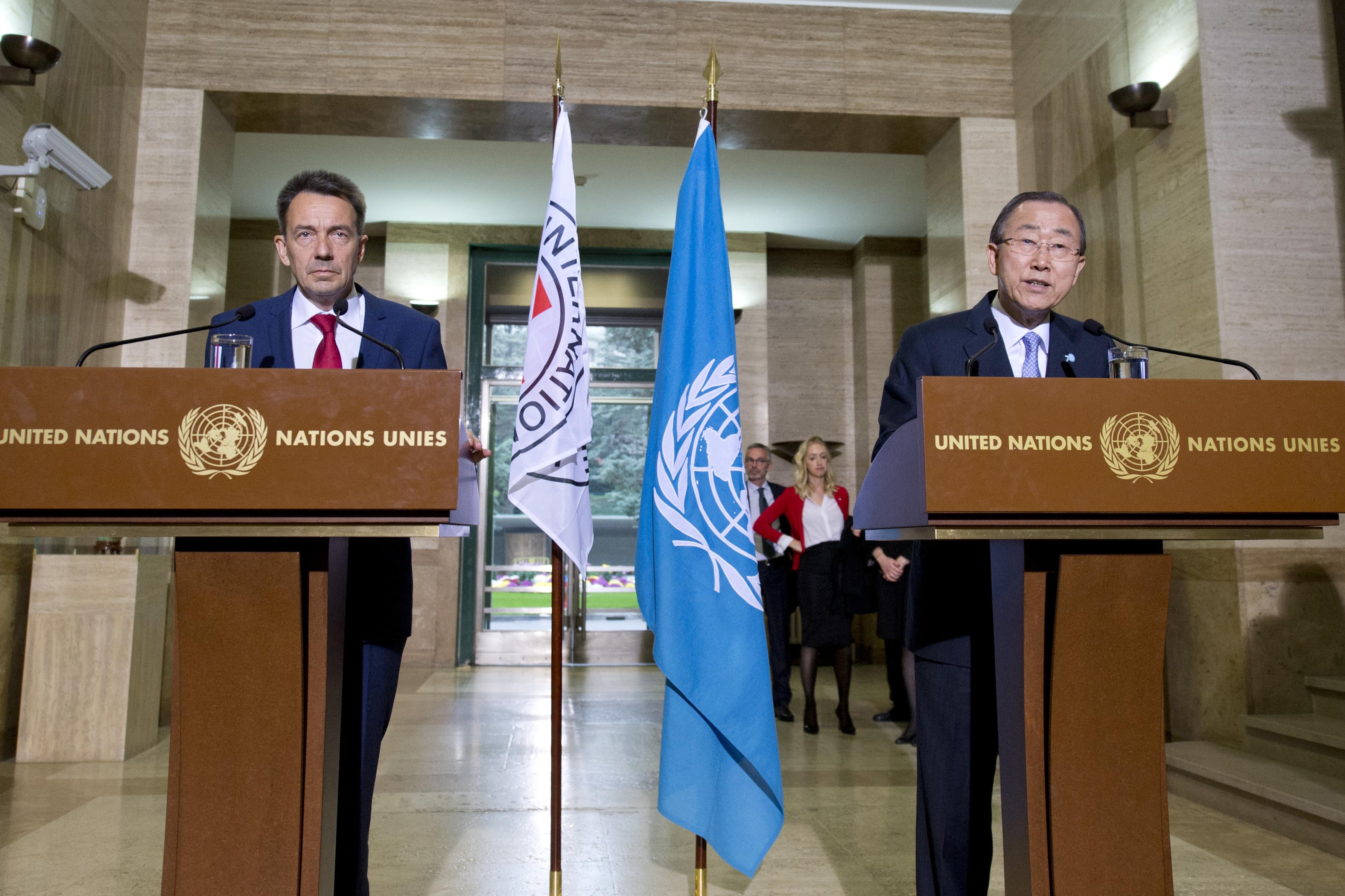 Ban Ki-moon and Peter Maurer
