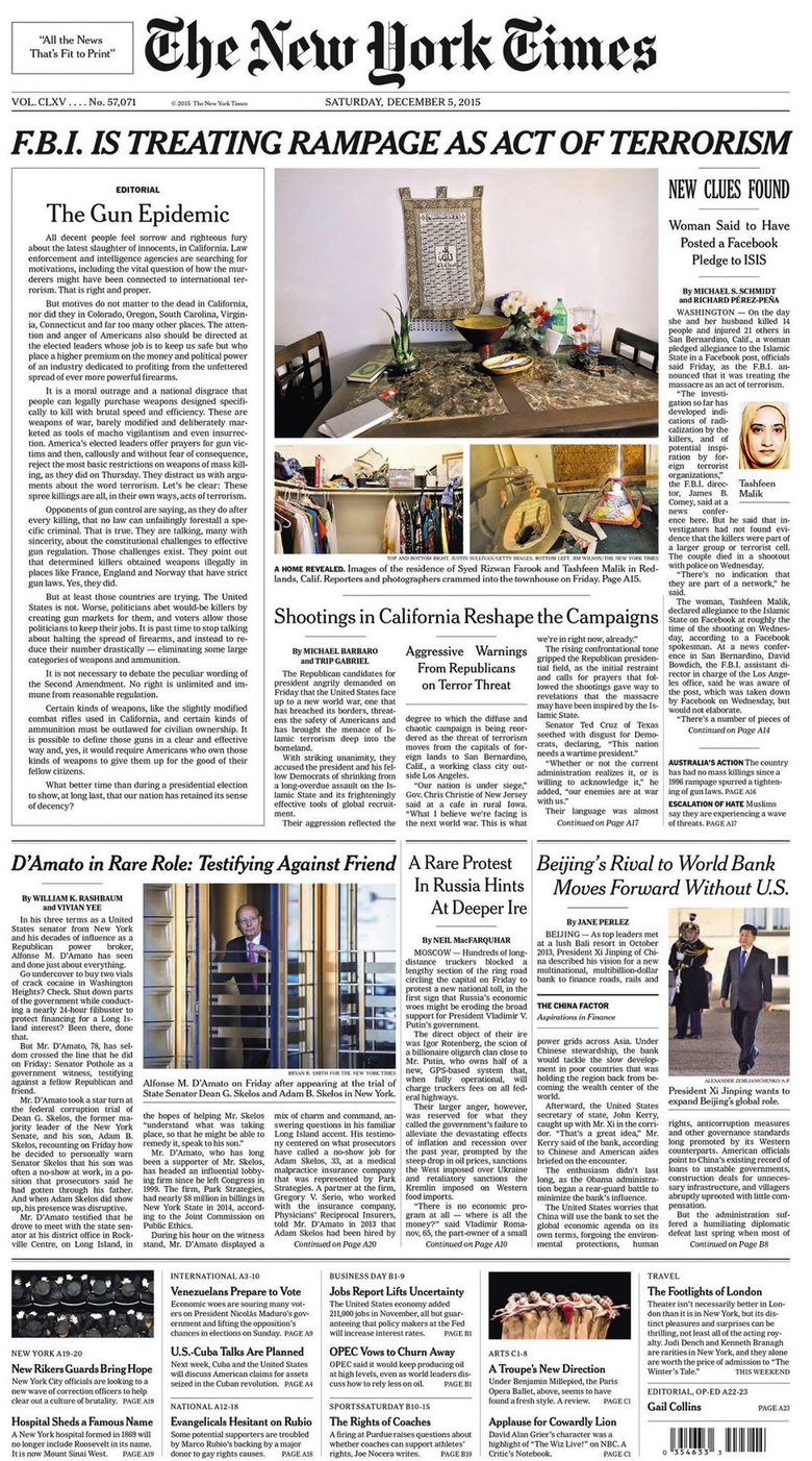 December 5th Front Page of the New York Times