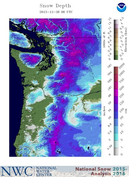 Snow depth maps show pacific northwest has become the powder northwest mountains snow depth map sciox Gallery