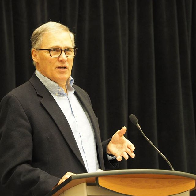 Governor Jay Inslee addresses the winter meeting of the Washington State Democrats
