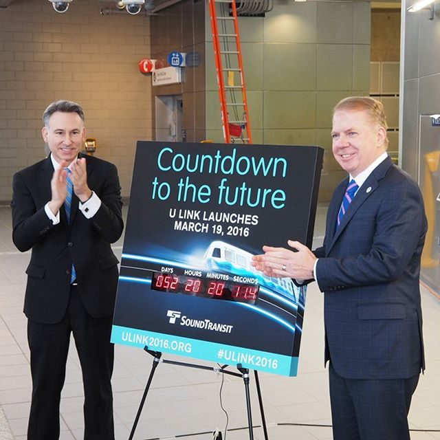 King County Executive Dow Constantine and Seattle Mayor Ed Murray announce the launch date for Sound Transit's University Link light rail extension! March 19th, 2016!