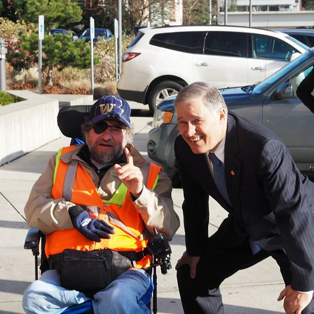 Governor Jay Inslee with Marvin, a client of Navos Mental Health and Wellness