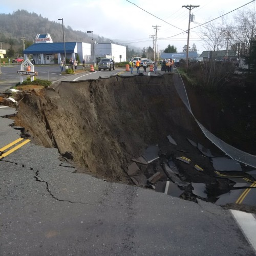 Sinkhole in Harbor, Oregon