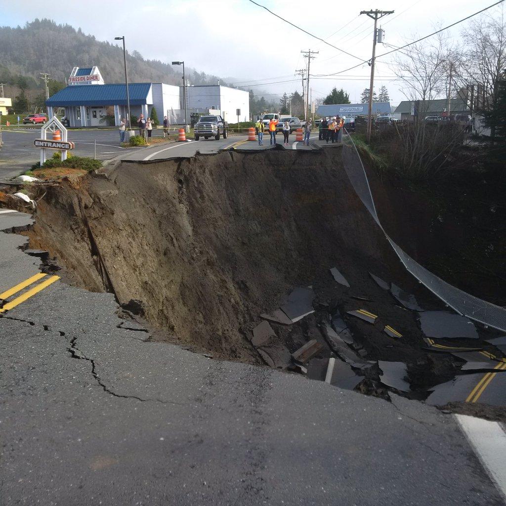 Sinkhole in Harbor, Oregon