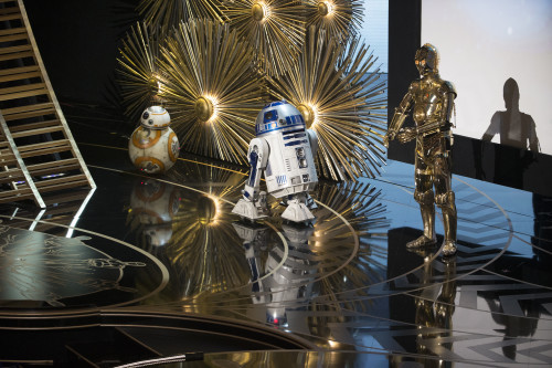 BB-8, R2-D2, C-3PO at the Oscars