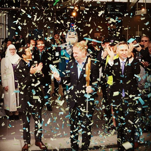 Confetti rains down as University Link opens to the public