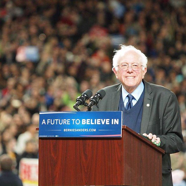 Bernie Sanders speaking at Safeco Field