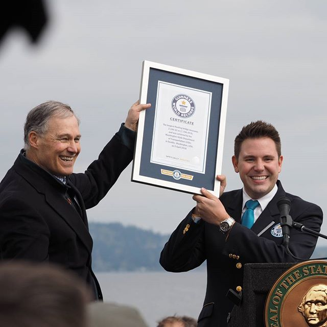 Governor Jay Inslee celebrates the awarding of a Guinness World Record to the State of Washington for the World's Longest Floating Bridge