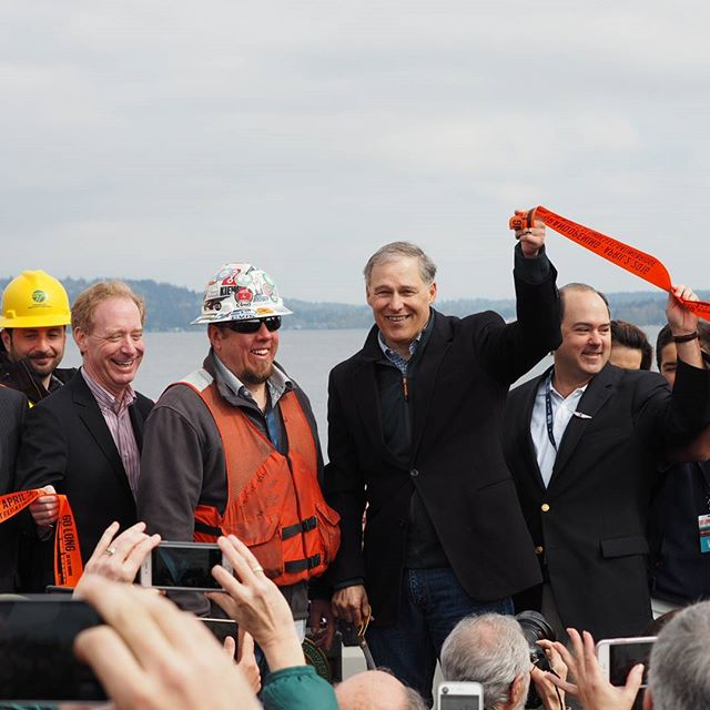 The ribbon is cut: Governor Inslee and regional leaders celebrate the opening of the new Evergreen Point Floating Bridge