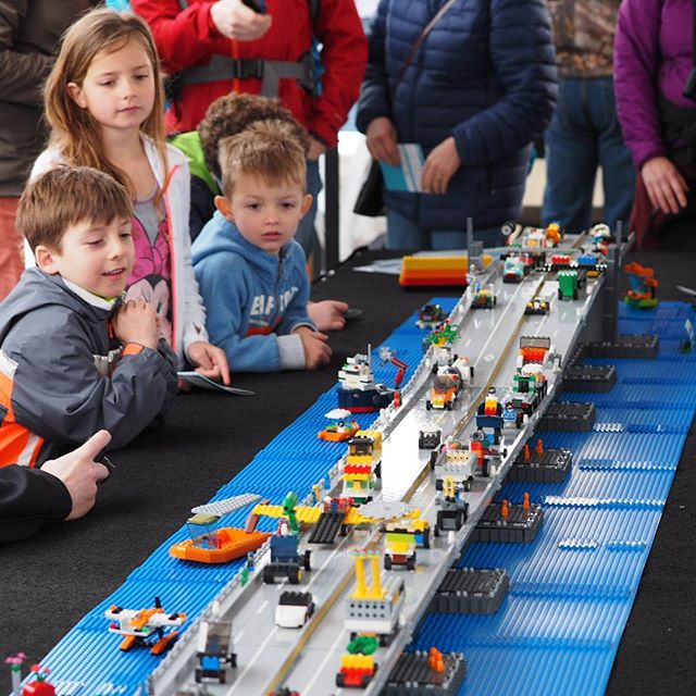 Kids check out a LEGO model of the new Evergreen Point Floating Bridge