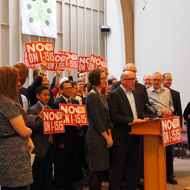 Seth Kirby speaks at the launch of Washington Won't Discriminate: NO on I-1515