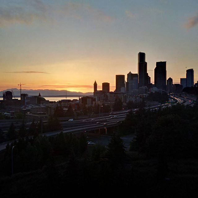 Downtown Seattle at sunset from Beacon Hill