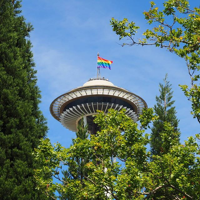 pride 2016 space needle proudly flies the rainbow flag. Black Bedroom Furniture Sets. Home Design Ideas