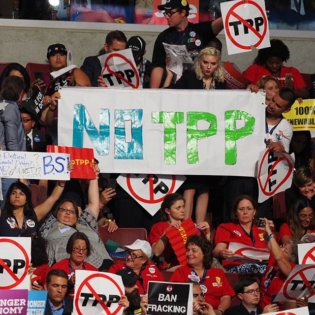 No TPP! Bernie delegates make clear they're opposed to another corporate giveaway inside the Wells Fargo Center