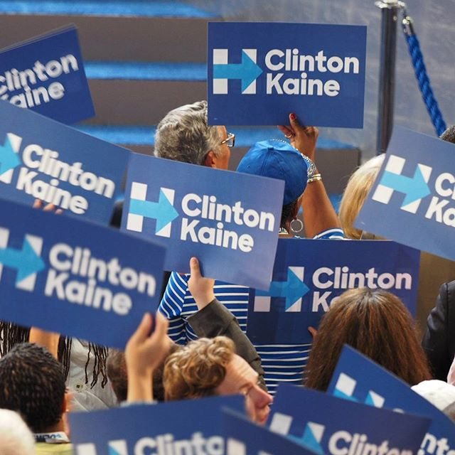 Clinton/Kaine rally signs at the 2016 Democratic National Convention