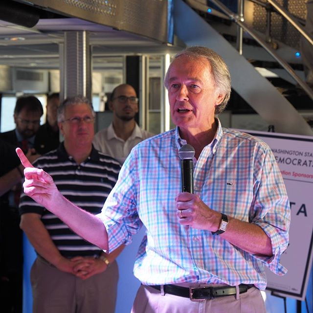 Massachusetts Senator Ed Markey addresses a joint gathering of the Washington and Massachusetts DNC delegations