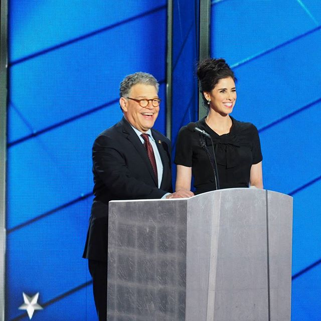 Senator Al Franken and comic superstar Sarah Silverman entertain delegates in Philadelphia
