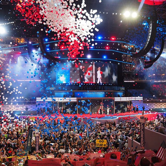 Balloons and confetti rain down at the conclusion of the 2016 Democratic National Convention