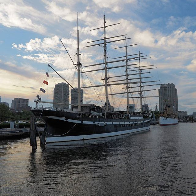 One of the historic sailing ships moored on the Philadelphia waterfront
