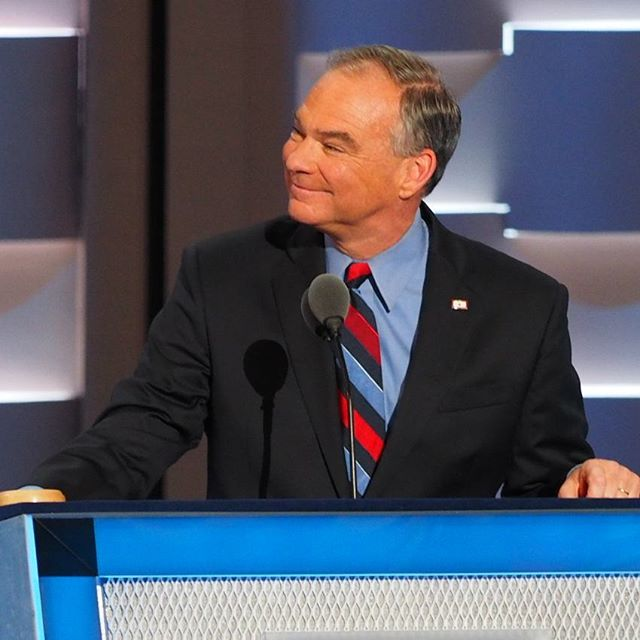 Virginia's Tim Kaine accepts the Democratic Party's nomination for Vice President of the United States