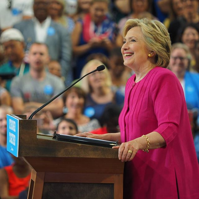 Hillary Clinton speaks at a rally in Philadelphia following the Democratic National Convention