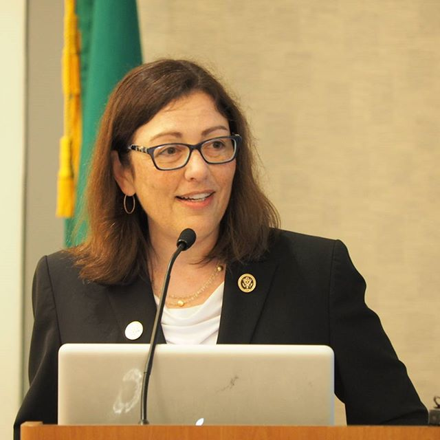 U.S. Representative Suzan DelBene addresses the Monday morning meeting of the Washington State DNC delegation