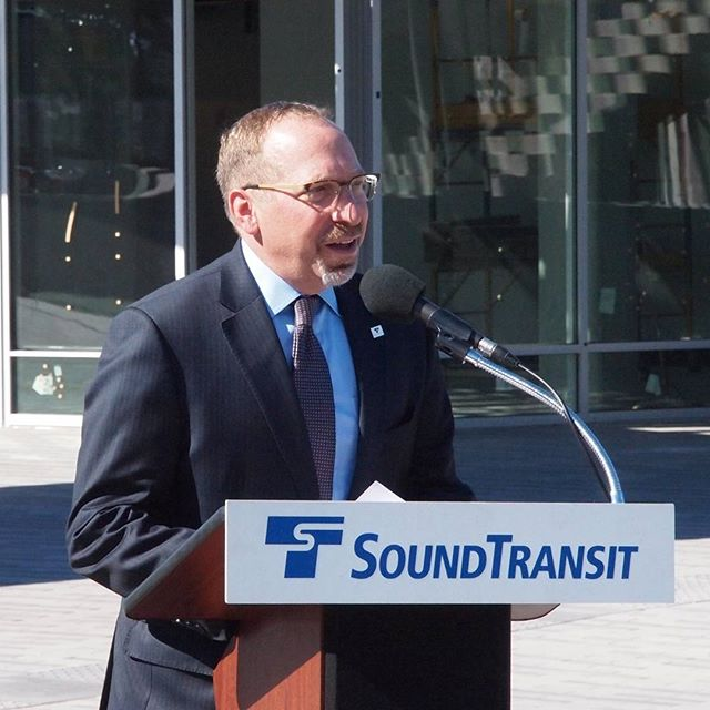 Sound Transit CEO Peter Rogoff speaks ahead of the unveiling of the Angle Lake Station countdown clock