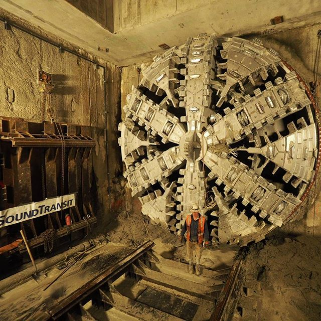 Cutterhead of one of two light rail tunnel boring machines after the hole-through underneath the Husky Stadium plaza