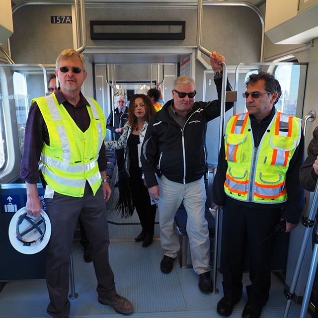 On the way to Angle Lake: Sound Transit personnel, media, and elected officials ride Link light rail south to its new southern terminus