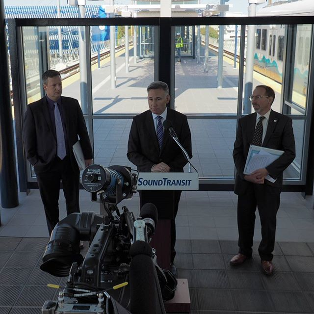 Dave Upthegrove, Dow Constantine, and Peter Rogoff lead a Sound Transit press conference